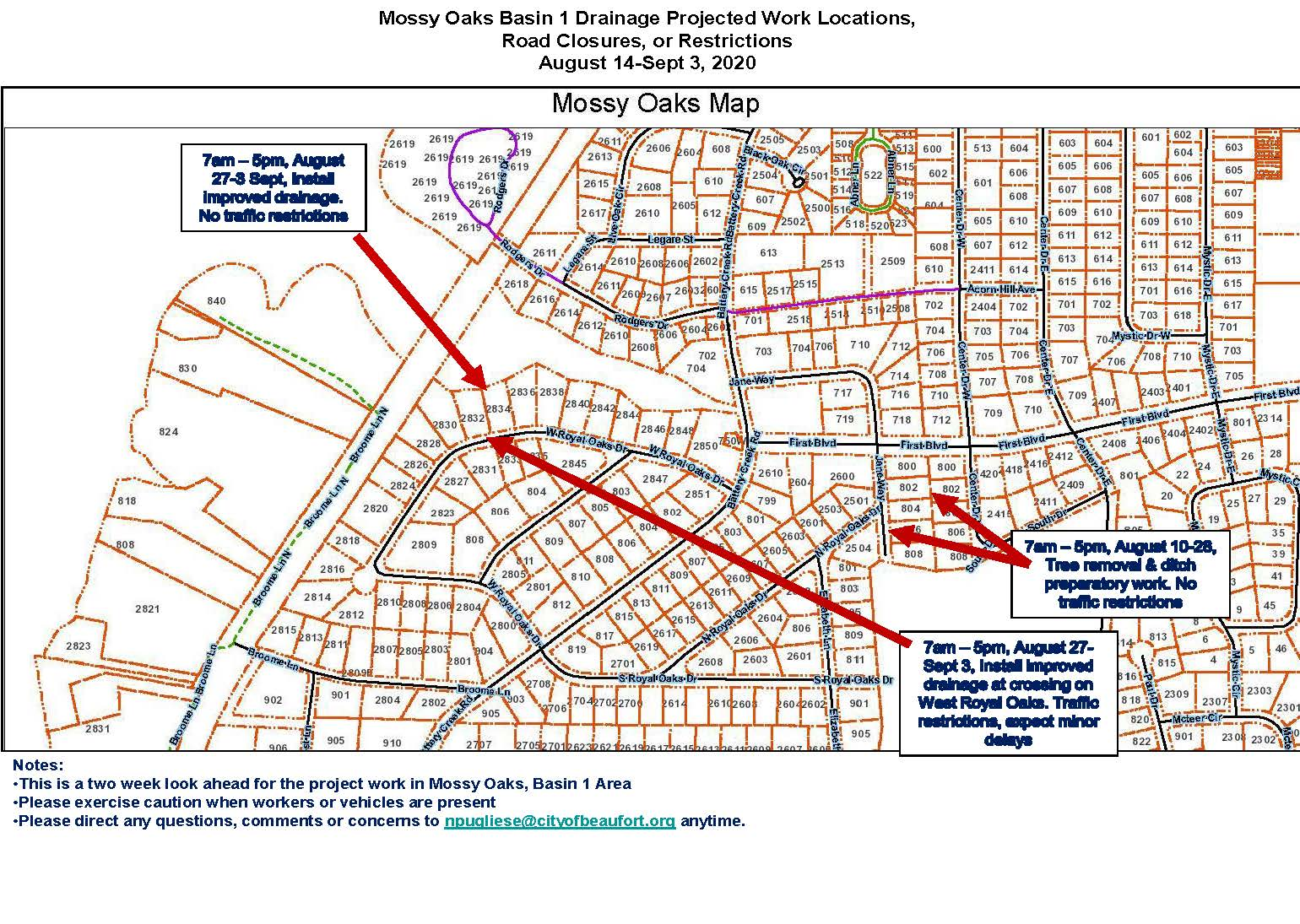 Mossy Oaks Drainage Update Aug. 14-Sept.3